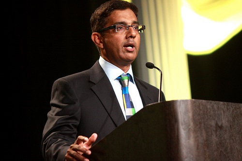 Dinesh D'Souza speaking at the 2013 FreedomFest in Las Vegas, Nevada.