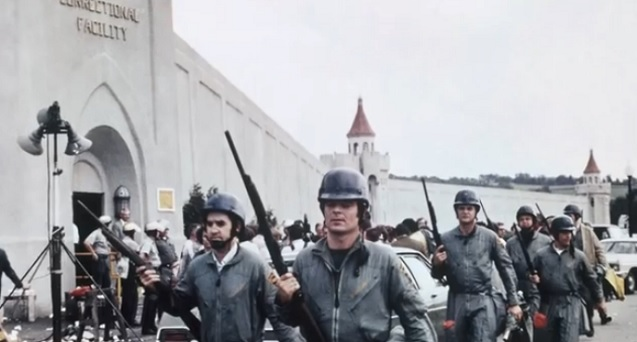 "National Guardsmen at New York's Attica prison in 1971. (Screen grab <a href="" http://www.youtube.com/watch?v=cBG1UkxrMG0"" target=""_blank"">The Nation / YouTube</a>)"